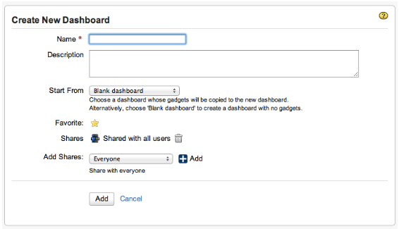 New Jira Dashboard creation